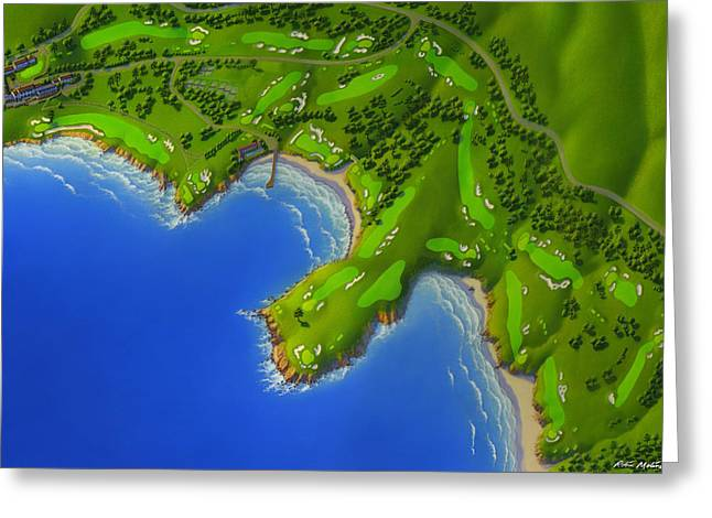 Pebble Beach Golf Course Greeting Card by Robin Moline