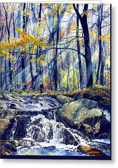 Autumn Prints Paintings Greeting Cards - Pebble Creek Autumn Greeting Card by Hanne Lore Koehler