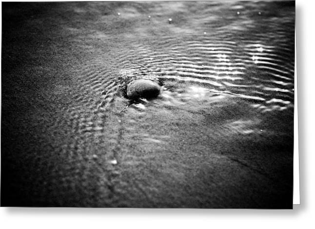 Silence Pyrography Greeting Cards - Pebble In The Water Monochrome Greeting Card by Raimond Klavins