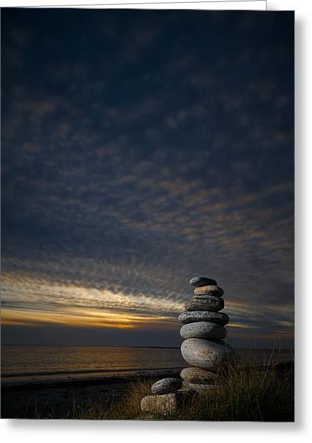 Outer Hebrides Greeting Cards - Pebble sculpture on a beach. Greeting Card by Graham Taylor