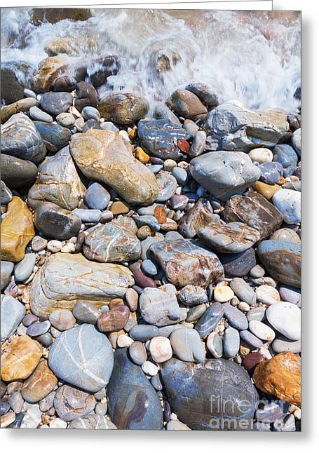 Abstract Seascape Greeting Cards - Pebble Stones Greeting Card by Atiketta Sangasaeng
