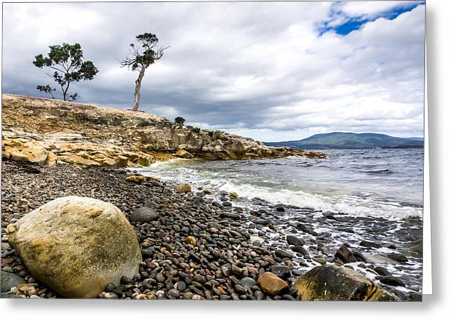 Justin Woodhouse Greeting Cards - Pebbled Beach Under Dramatic Skies Number One Greeting Card by Justin Woodhouse
