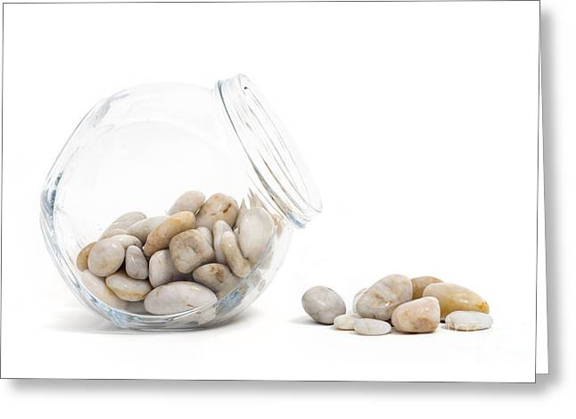 Neutral Colours Greeting Cards - Pebbles and Glass Jar against White Background Greeting Card by Natalie Kinnear