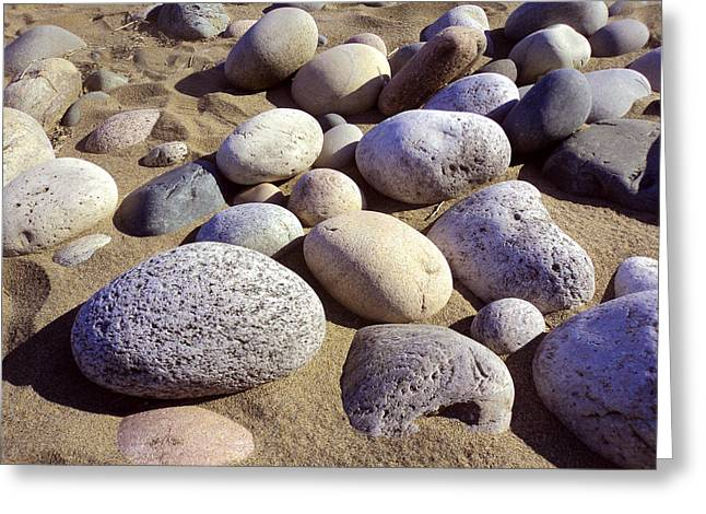 Pebbles Greeting Cards - Pebbles and Sand Greeting Card by Merv Scoble
