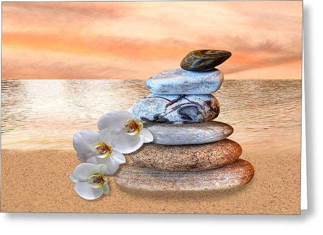 Gills Rock Greeting Cards - Pebbles and White Orchids at Sunset Greeting Card by Gill Billington