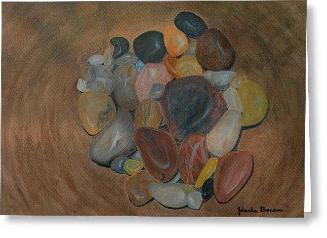 Wooden Bowls Paintings Greeting Cards - Pebbles in a wooden bowl Greeting Card by Jolanta Benson