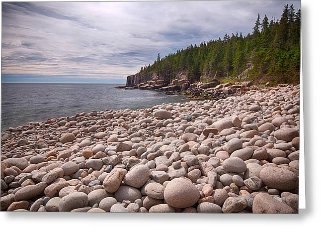 Maine Beach Greeting Cards - Pebbles On The Beach, Cobblestone Greeting Card by Panoramic Images