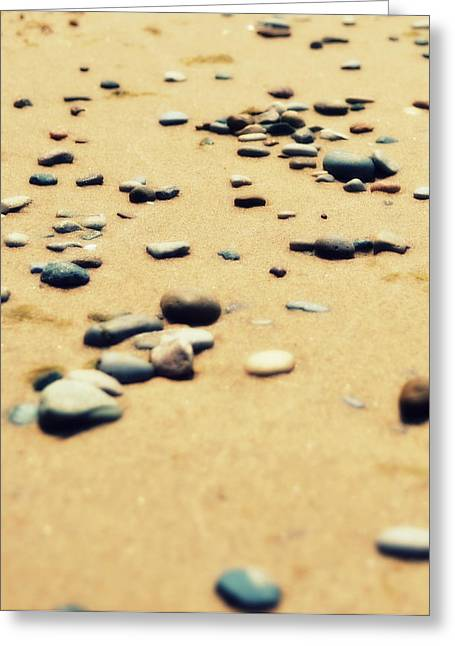 Sand Patterns Greeting Cards - Pebbles on the Beach Greeting Card by Michelle Calkins