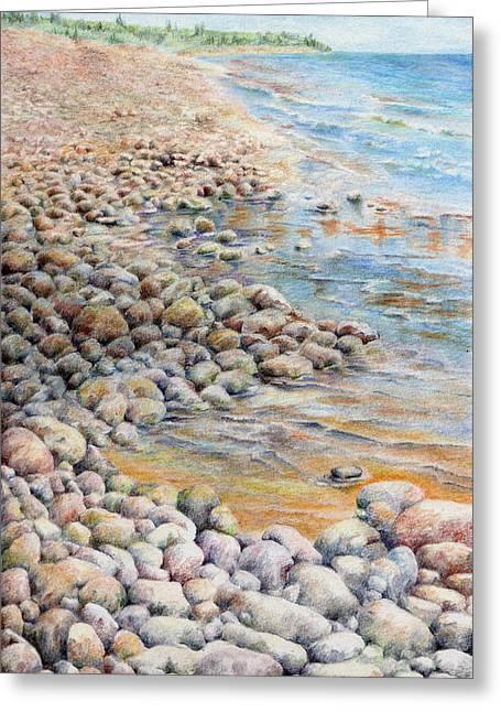 Sandy Beaches Drawings Greeting Cards - Pebbley Beach Greeting Card by Liz  Lamb