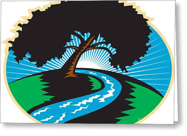 Pecan Tree Winding River Sunrise Retro Greeting Card by Aloysius Patrimonio