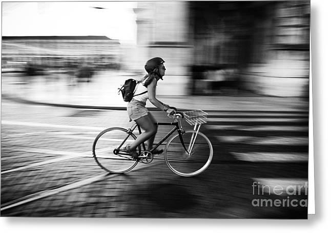 Pedalling In Rua Da Prata Greeting Card by Carlos Caetano
