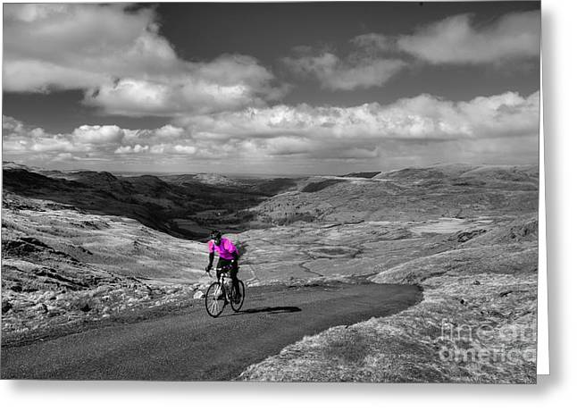 Selective Colouring Photographs Greeting Cards - Pedalling the Pass in Pink  Greeting Card by Rob Hawkins