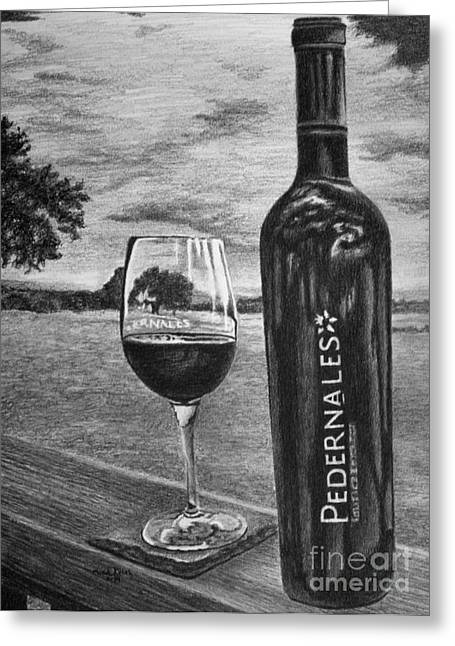 Wine-glass Drawings Greeting Cards - Pedernales Cellars Greeting Card by Chad Keith