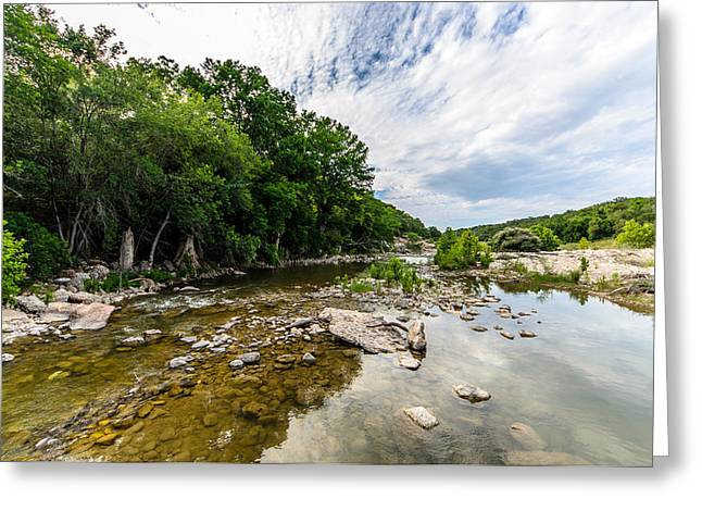 Hamilton Pool Texas Greeting Cards - Pedernales River - Downstream Greeting Card by David Morefield