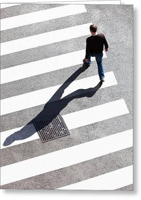 Pedestrain Crossing The Street On Zebra Greeting Card by Panoramic Images