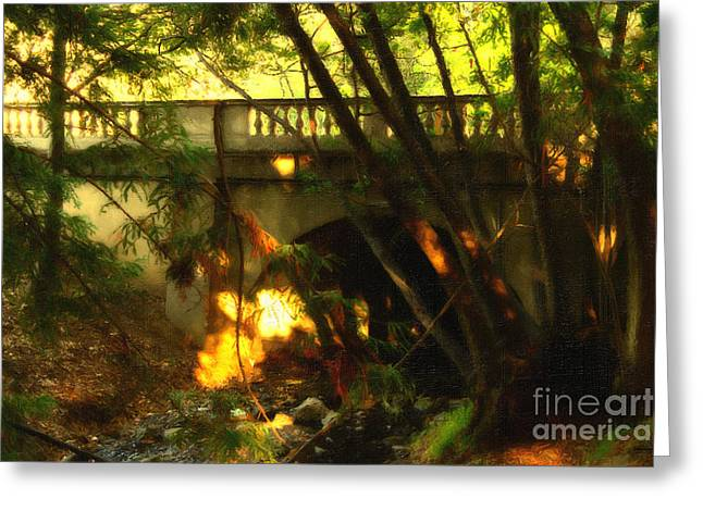 Uc Berkeley (cal) Digital Greeting Cards - Pedestrian Bridge And Strawberry Creek  . 7D10132 . Painterly Greeting Card by Wingsdomain Art and Photography