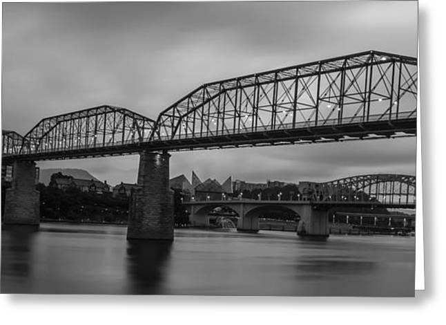 Tennessee Landmark Greeting Cards - Pedestrian Bridge - B-W Greeting Card by John Ray