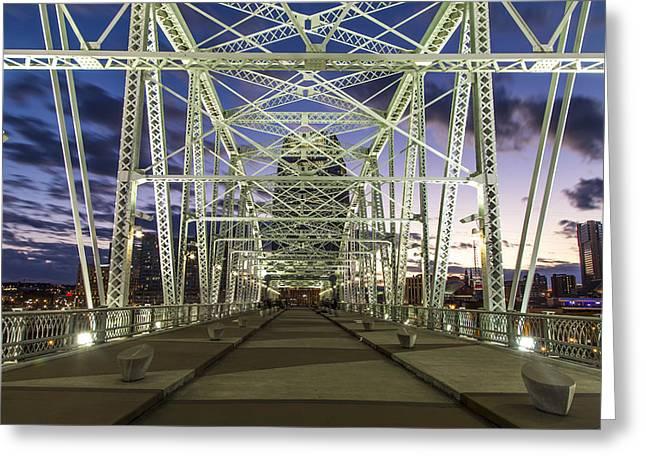 Nashville Greeting Cards - Pedestrian Bridge in Nashville at sunset Greeting Card by John McGraw