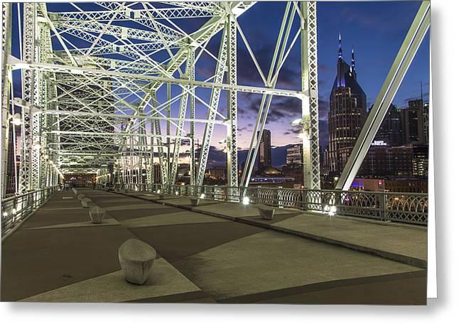 Nashville Greeting Cards - Pedestrian Bridge in Nashville  Greeting Card by John McGraw