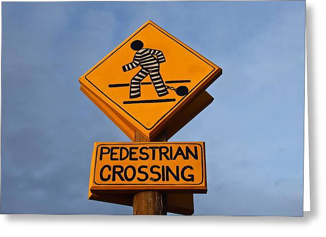 Chain Gang Greeting Cards - Pedestrian Crossing Greeting Card by Denise Mazzocco