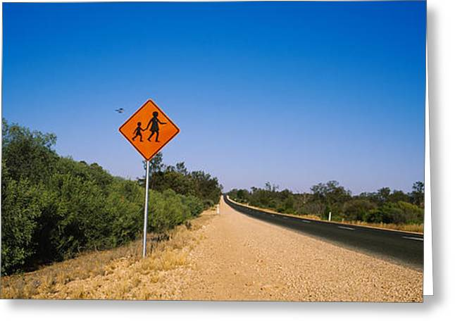 Warning Sign Greeting Cards - Pedestrian Crossing Sign Greeting Card by Panoramic Images
