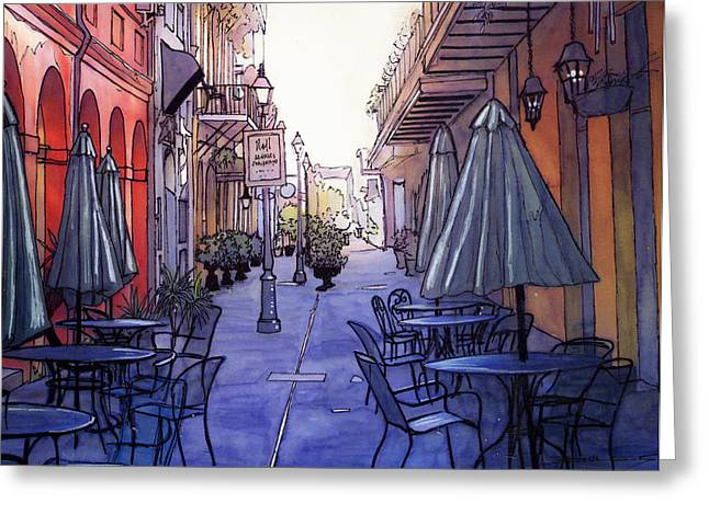 Streetlamp Drawings Greeting Cards - Pedestrian Mall  212 Greeting Card by John Boles