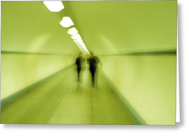 Green Tones Greeting Cards - Pedestrian Tunnel, Blurred Motion Greeting Card by Panoramic Images