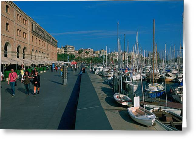 Sidewalks. Arches Greeting Cards - Pedestrian Walkway Along A Harbor Greeting Card by Panoramic Images