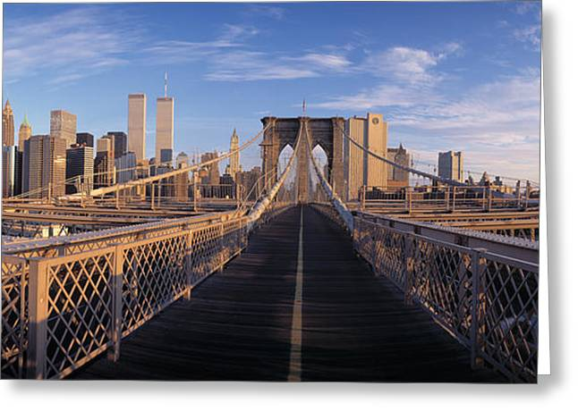 Ironwork Greeting Cards - Pedestrian Walkway Brooklyn Bridge New Greeting Card by Panoramic Images