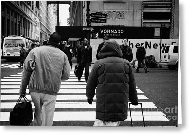 Manhatan Greeting Cards - Pedestrians Crossing Crosswalk Carrying Luggage On Seventh 7th Ave Avenue Greeting Card by Joe Fox