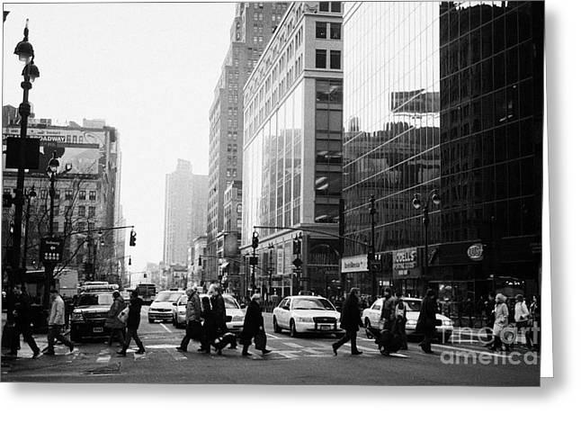 Pedestrians Crossing Crosswalk On 34th Street And 6th Avenue New York City Streets Usa Greeting Card by Joe Fox