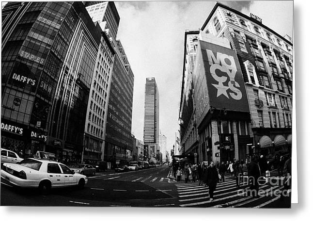 Manhatan Greeting Cards - Pedestrians crossing crossway at Macys at Broadway and 34th Street Herald Square Greeting Card by Joe Fox