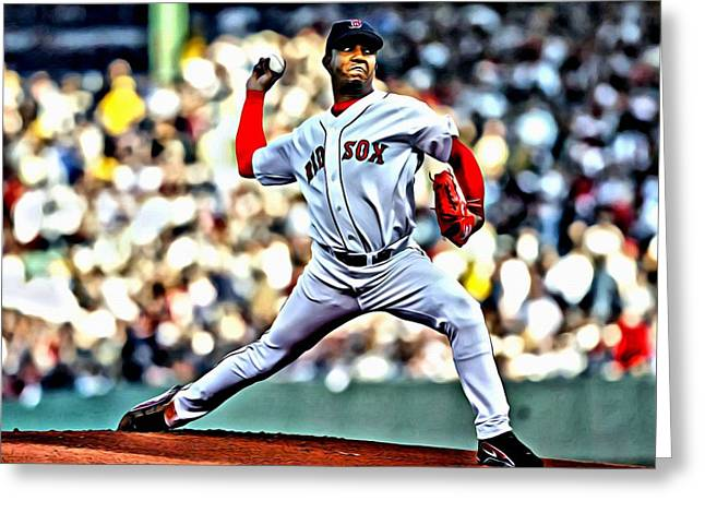 Boston Red Sox Poster Greeting Cards - Pedro Martinez Greeting Card by Florian Rodarte