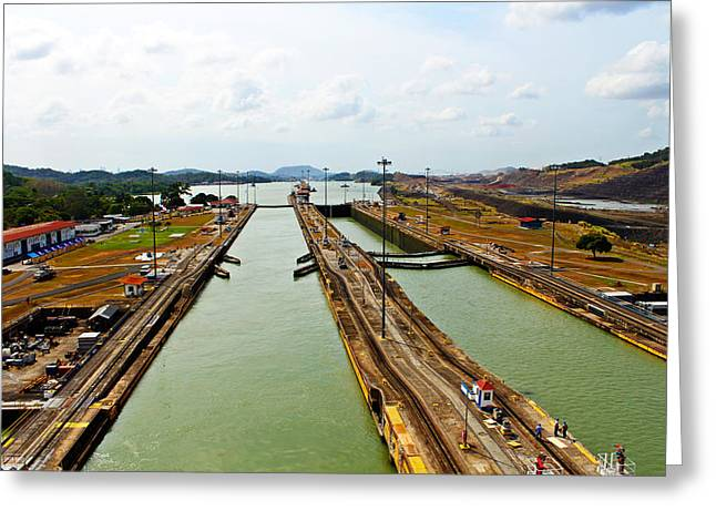 Boat Cruise Greeting Cards - Pedro Miguel Locks Panama Canal Greeting Card by Kurt Van Wagner