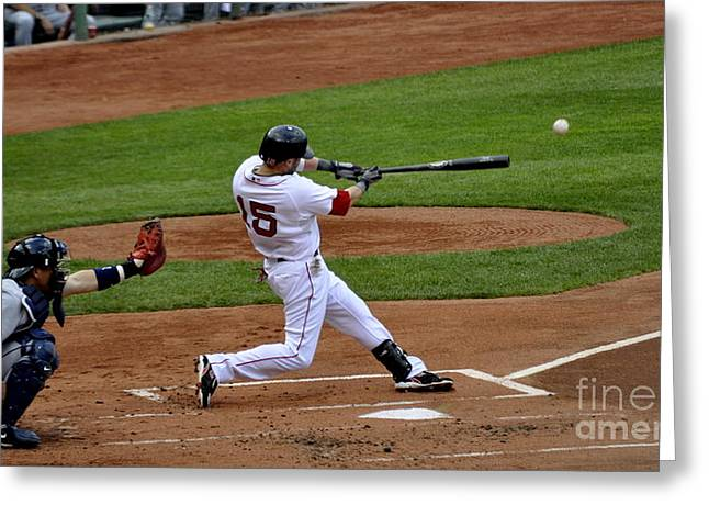 Dustin Pedroia Greeting Cards - Pedroia 1 Greeting Card by Michael Jones