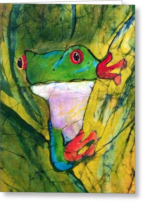Fine Art Batik Tapestries - Textiles Greeting Cards - Peek-a-Boo Frog Greeting Card by Kay Shaffer