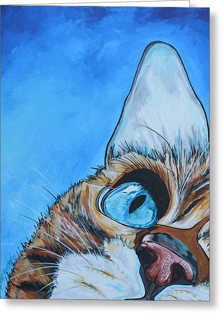 Cat Face Greeting Cards - Peek A Boo Greeting Card by Patti Schermerhorn