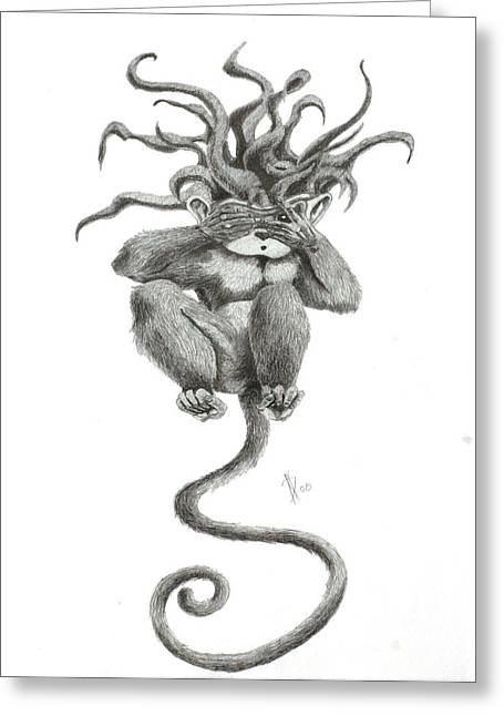 Jester Greeting Cards - Peek at Evil Drawing Greeting Card by Kd Neeley