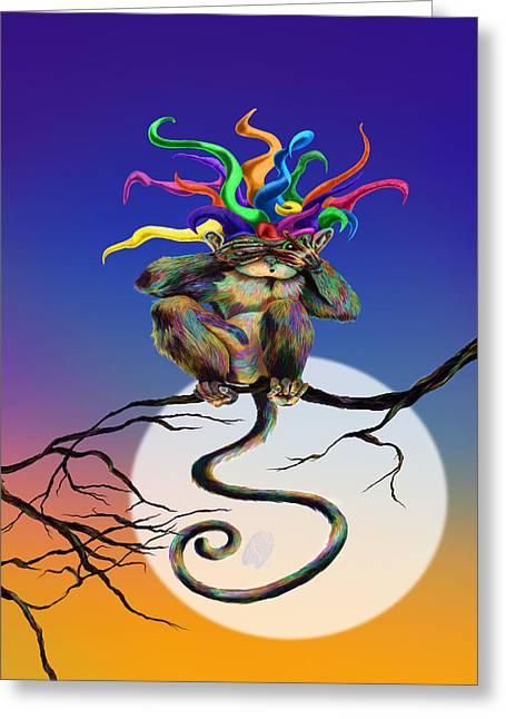 Jester Greeting Cards - Peek at Evil Greeting Card by Kd Neeley