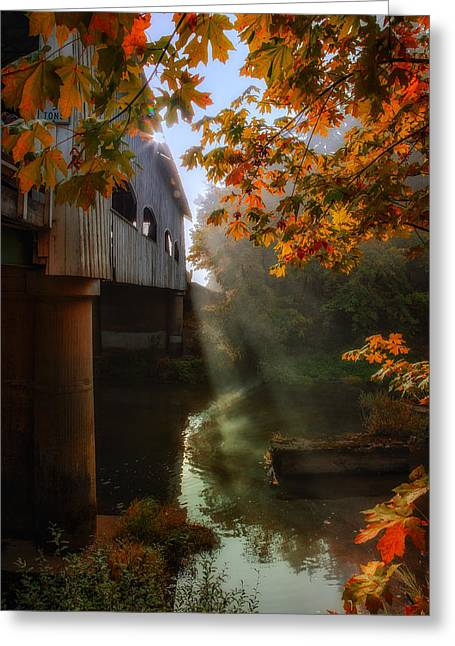 Covered Bridge Greeting Cards - Peek at Fall Greeting Card by James Heckt