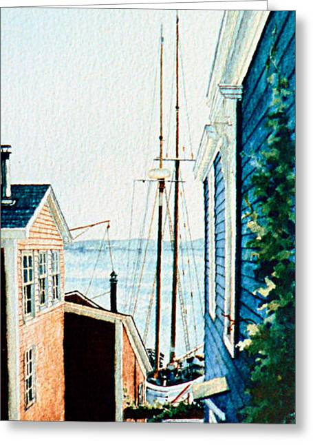 Tall Ship Greeting Cards - Peek At The Bluenose Greeting Card by Hanne Lore Koehler