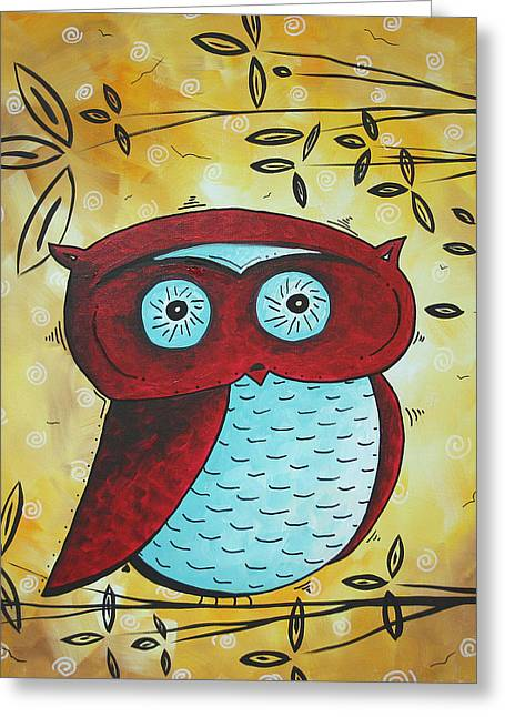 Owl Decor Greeting Cards - Peekaboo by MADART Greeting Card by Megan Duncanson