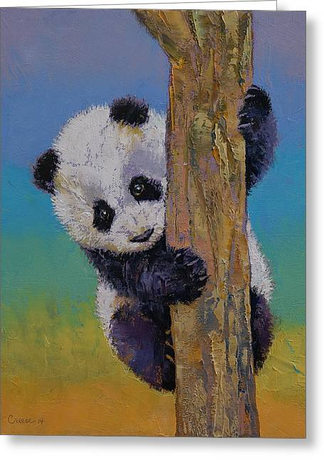 Giant Panda Greeting Cards - Peekaboo Greeting Card by Michael Creese