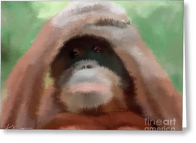 Orangutan Drawings Greeting Cards - Peekaboo Orangutan  Greeting Card by Karen Larter