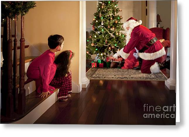 Pajamas Greeting Cards - Peeking at Santa Greeting Card by Diane Diederich