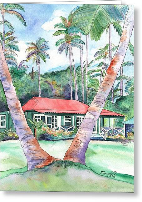 Plantation Greeting Cards - Peeking Between the Palm Trees 2 Greeting Card by Marionette Taboniar