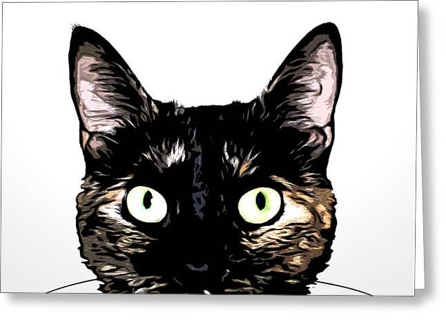 Pet Mixed Media Greeting Cards - Peeking Cat Greeting Card by Nicklas Gustafsson