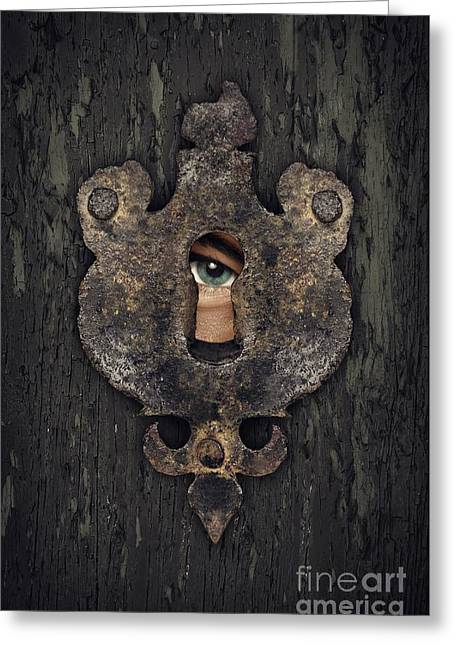 Peepholes Greeting Cards - Peeking Eye Greeting Card by Carlos Caetano