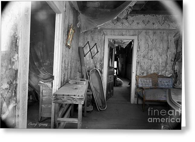 Peeking In The Old Mortuary Greeting Card by Cheryl Young