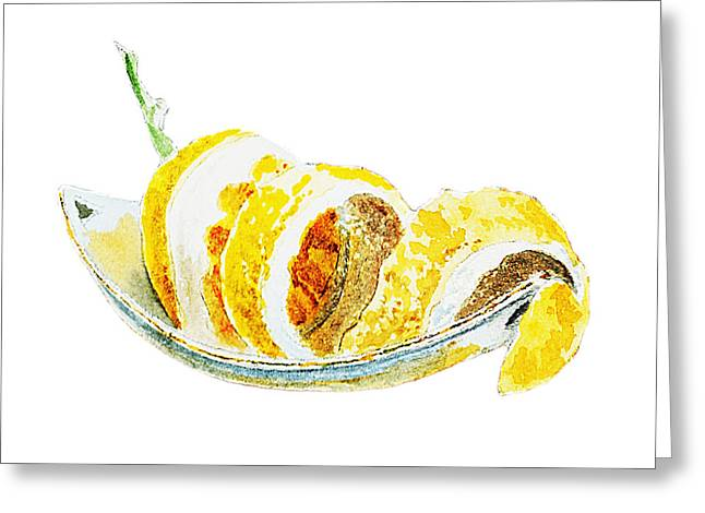 Sour Greeting Cards - Peeled Lemon Greeting Card by Irina Sztukowski